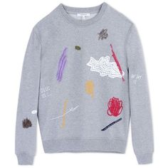 Carven Gray Cotton Embroidered Sweatshirt (3 995 ZAR) ❤ liked on Polyvore featuring tops, hoodies, sweatshirts, grey, colorful tops, gray top, embroidered cotton top, sweat tops and cotton sweat shirts