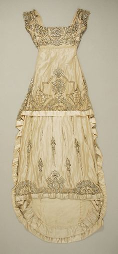 Embroidered, beaded, and sequined silk satin evening dress, by Weeks, French, ca. 1911.