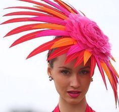 Chloe Moo winner Myer FOTF in my long time friend Melissa Cabot's Monsoon Millinery headpiece ❤💛❤💛❤ Fantastic isn't it 😀 Fancy Hats, Cool Hats, Rose Fushia, Orange Pink, Ascot Hats, Crazy Hats, Kentucky Derby Hats, Stylish Hats, Church Hats