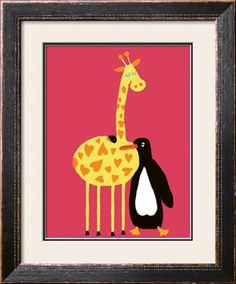 Love Between a Giraffe and a Penguin Print by Andree Prigent at Art.com