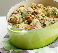 One-pot chicken & bacon stew (Use half the liquid for slow cooker, plus half-fat creme fraiche instead of cream)