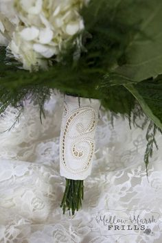 Custom Monogram Bridal Bouquet Wrap Cutwork Embroidery with Cutwork Embroidery, Custom Embroidery, Bouquet Wrap, Bridal Accessories, No Frills, Monogram, Trending Outfits, Unique Jewelry, Handmade Gifts