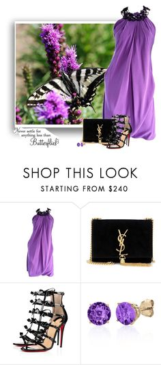 """""""Untitled #6483"""" by barbarapoole ❤ liked on Polyvore featuring Pamella Roland, Yves Saint Laurent, Christian Louboutin, WALL and Belk & Co."""