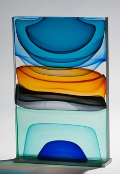 """Gorgeous pieces by Jamie Harris, a glass artist and designer living in New York City. """"I approach my sculptural glass work more from a painterly perspective than as a traditional glassblower. My work is about loud splashes of color, about capturing the in Art Of Glass, Glass Artwork, Glass Wall Art, Fused Glass Art, Stained Glass, Glass Ceramic, Mosaic Glass, Cast Glass, Contemporary Abstract Art"""