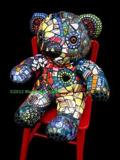 """Patches"" mosaic bear in a chair! by Moe's Ache. View Flickr stream for the work in progress pics--made using an actual teddy bear!"