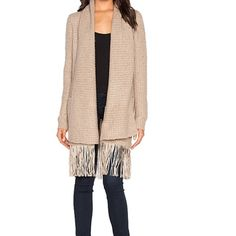 Line Fringe Cardigan Taupe SM Description listed above worn 2/3 times - dry cleaned no pulls stains or tears excellent cond - current style priced at 295 on Revolve color not flattering on me Line Sweaters