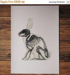 ЗАЯЦ, скелет, анатомия, кролик, принт, акварельный рисунок, картина