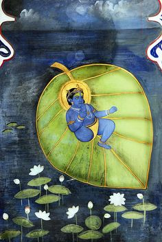 "Lord Krishna on a Kalpabata, or Banyan tree leaf (wish-fulfilling tree) - the time of the Blue-Beings was a ""magic"" time - not a deteriorated time like today Krishna Lila, Baby Krishna, Krishna Radha, Lord Krishna, Pichwai Paintings, Indian Paintings, Color Symbolism, Spiritual Paintings, Krishna Painting"