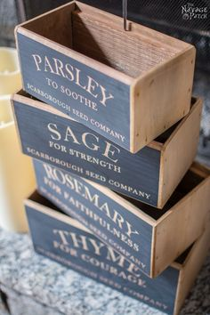 DIY nesting herb boxes | DIY wooden herb crates | Step-by-step hanging herb crate tutorial | Farmhouse style rustic decor | Free stencil | Free printable | Scarborough Fair | Scrap wood home decor | Stenciled home decor | How to stencil | Festive home decor | Cheap