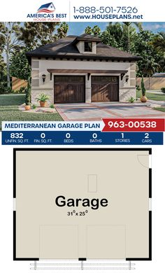 Complete with 832 sq. ft., Plan 963-00538 delivers a Mediterranean garage for 2 cars. #mediterranean #architecture #houseplans #housedesign #homedesign #homedesigns #architecturalplans #newconstruction #floorplans #dreamhome #dreamhouseplans #abhouseplans #besthouseplans #newhome #newhouse #homesweethome #buildingahome #buildahome #residentialplans #residentialhome Mediterranean House Plans, Mediterranean Architecture, Construction Drawings, Construction Cost, Best House Plans, Dream House Plans, Floor Plan Drawing, Stucco Exterior, Cost To Build