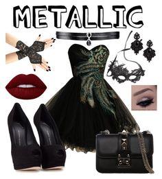 """Masquerade Ball Metallic Dress"" by samseepoo on Polyvore featuring Giuseppe Zanotti, Cara, Fallon, Tasha, Lime Crime and Valentino"