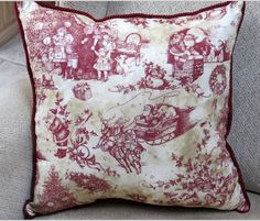 I absolutely adore this vintage looking fabric!  It shows a variety of Christmas scenes in burgundy, cream and tan.  I edged it with burgundy upholstery rope.