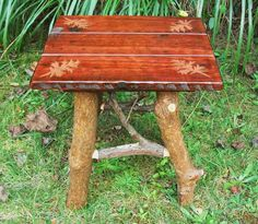Rustic Handmade Pine And Rhodo End Side Table Leaf Design Log Cabin Furniture By…
