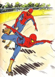 spiderman at the roller derby Quad Roller Skates, Roller Rink, Roller Skating, Skating Rink, Figure Skating, Roller Derby Girls, Derby Skates, Comic Books Art, Comic Art