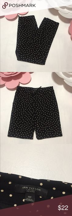 Ann Taylor Polka Dot Pants Size 0P Pants Tie At The Waist. Very Lightweight and Comfortable. Great Condition.  Material - 100% Polyester  Inseam - 28 Inches Ann Taylor Pants