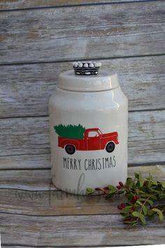 Rae Dunn Inspired Vintage Red Truck Vinyl Decal~Rae Dunn Decal~Kitchen Decor~Farmhouse Christmas Decor~Rae Dunn Christmas~Christmas Canister #affiliate