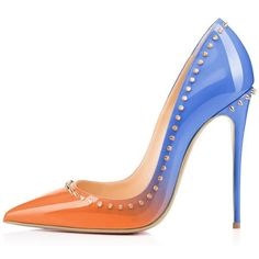 Women's Orange And Light Blue Dress Shoes Pointed Toe Stiletto Heels ($65) ❤ liked on Polyvore featuring shoes, pumps, high heel stilettos, orange stilettos, light blue dress shoes, party pump and pointy toe stiletto pumps