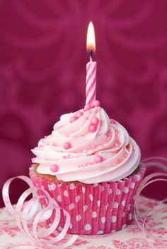 Pink birthday cupcake by RuthBlack. Cupcake decorated with a single pink candle Cupcakes Rosa, Pink Cupcakes, Cute Cupcakes, Cupcake Cookies, Party Cupcakes, Cupcake Art, Chocolate Cupcakes, Happy Birthday Cupcakes, Happy Birthday Wishes