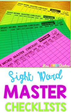 Use these free master sight word checklists to provide whole class sight word…