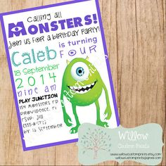MONSTER INC Birthday Invitation