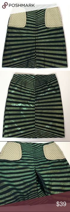 95b792adfe8 CUSTO BARCELONA METALLIC GREEN STRIPED SKIRT SZ 2 GUC Custo Barcelona  metallic green and black striped