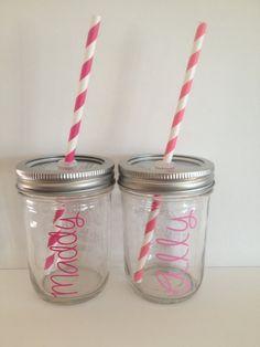 Kids Glass Mason Jar cup Personalized Kids Cup by KissMasonJars