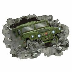 These giant camo wall decals are the perfect wall art for your kids camo bedroom walls. Military tanks, jeeps and hummers bursting through .