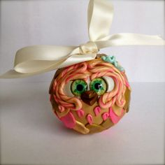 Peach  Polymer Clay Owl Ornament w/ Ribbon by TheNakedPeacock, $14.95