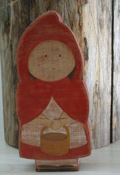 Little Red Riding Hood . Primitive . Grungy by TheTreeFolkHollow