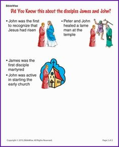 Did You Know the Disciples James and John (Story) - Kids Korner - BibleWise