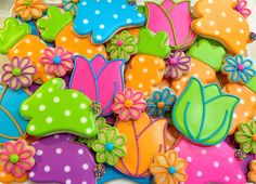 Easter decorated cookies. Royal icing. Green, pink, orange, blue, purple. Tulip, bunny. Polka dots.