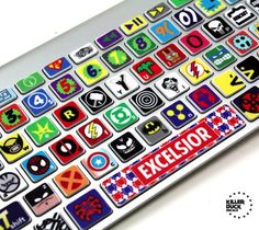 Macbook Keyboard Super Hero Skin / Super Hero's (and villains) unite! Its like the comic book alphabet bending to the power of your almighty fingertips. http://thegadgetflow.com/portfolio/macbook-keyboard-super-hero-skin-12/