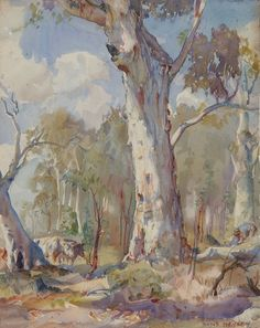 by Hans Heysen an Australian artist of renown who painted beautiful rural scenes. Watercolor Landscape, Landscape Art, Landscape Paintings, Watercolor Art, Australian Painting, Australian Artists, Pierre Auguste Renoir, Imagen Natural, Art Terms