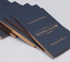 Logo, business cards with copper foil and edge painted detail and website by Parent for funeral director Devall & Son by Parent. Opinion by Richard Baird Luxury Business Cards, Elegant Business Cards, Unique Business Cards, Logo Design, Brand Identity Design, Branding Design, Design Cars, Identity Branding, Corporate Design