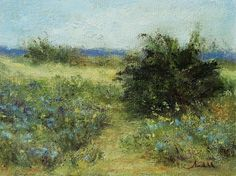 Artists Of Texas Contemporary Paintings and Art - Wildflowers on Chalk Mt. Road by Jill Randall