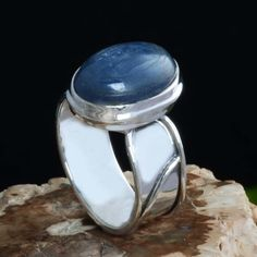 925 SOLID STERLING SILVER KYANITE RING 4.41g DJR10663 SZ-6.5 #Handmade #Ring