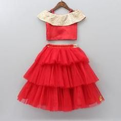 Pre orders can not be returned/exchanged Red off-shoulder top with golden sequin. - Pre orders can not be returned/exchanged Red off-shoulder top with golden sequin work on flap at ne - Baby Girl Frocks, Baby Girl Party Dresses, Frocks For Girls, Dresses Kids Girl, Kids Outfits, Kids Dress Wear, Kids Gown, Kids Wear, Girls Frock Design