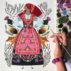 "950 Me gusta, 30 comentarios - Maya Hanisch / Pili (@maya_hanisch) en Instagram: ""the last touch of color to this beautiful portuguese traditional costume, acrylic on paper 32 x 41…"""