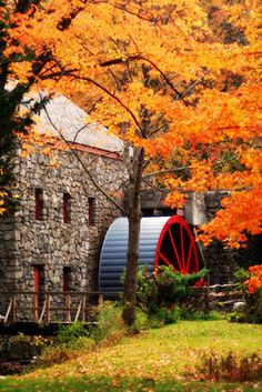 The Grist Mill in Massachusettes, at the Wayside Inn, in Autumn.