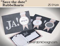 25 SAVE THE DATE Rubbelkarten für die Hochzeit von KleineFabrik auf DaWanda.com