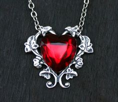 Red Heart Necklace by robinhoodcouture...pinned by ♥ wootandhammy.com, thoughtful jewelry.