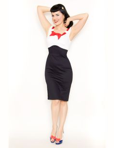 Navy, White & Red Stretch Katy Wiggle Dress - Unique Vintage - Cocktail, Evening, Pinup Dresses on Wanelo Wiggle Dress, Dress P, Dress Outfits, Fashion Dresses, Cute Outfits, Pin Up Dresses, Unique Dresses, Dresses Dresses, Wedding Dresses