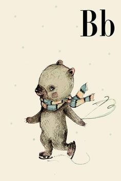 B for Bear Alphabet animal Print 8x11 inches by holli on Etsy