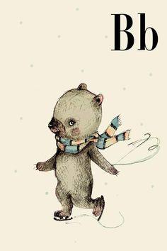 B for Bear  Alphabet art  Alphabet print  ABC wall art  by holli