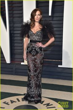 Kate Beckinsale Sheer Dress - Kate Beckinsale attended the Vanity Fair Oscar party decked out in a sheer black Zuhair Murad gown with silver beading and ruffle sleeves. Celebrity Red Carpet, Celebrity Look, Celeb Style, Dressy Dresses, Nice Dresses, Short Dresses, Kate Beckinsale 2017, Graydon Carter, Vanity Fair Oscar Party