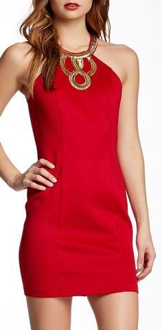 Embellished Halter Neck Dress