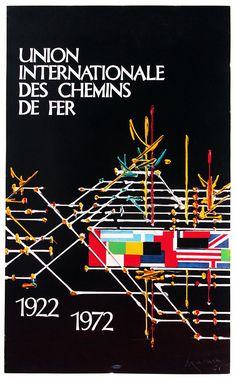 Union Internationale de Chemins de Fer - 1922-1972 poster. Artist: Georges Mathieu. Collection Arjan den Boer