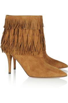 Aquazzura|Sasha fringed suede ankle boots|NET-A-PORTER.COM