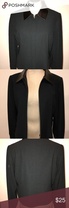 George Black Blazer 9/10 Fax Leather Collar Zipper George Black Blazer 9/10 Faux Leather Collar Zipper. Can wear for a night out but also to work! Comfortable with light shoulder pads. Shell and lining are both polyester. George Jackets & Coats Blazers