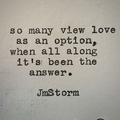 The answer  #jmstorm #jmstormquotes
